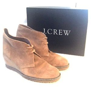 J crew suede tan wedge booties size 9 great cond.